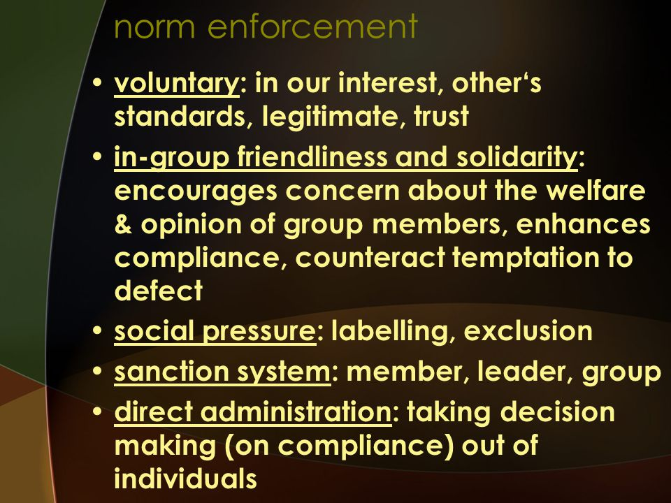 norm enforcement voluntary: in our interest, other's standards, legitimate, trust.