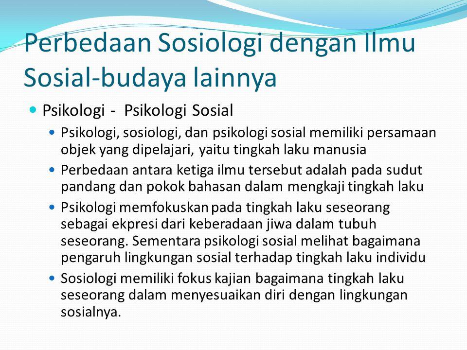 Perbedaan Sosiologi dengan Ilmu Sosial-budaya lainnya