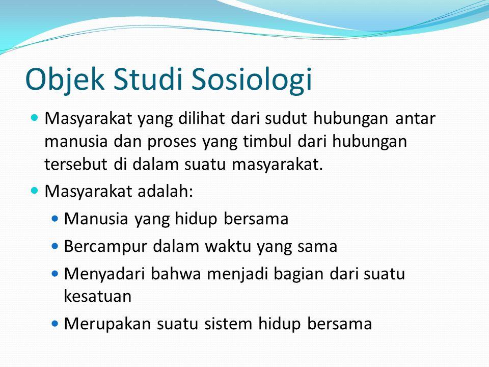 Objek Studi Sosiologi