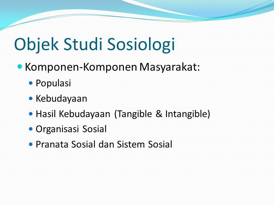 Objek Studi Sosiologi Komponen-Komponen Masyarakat: Populasi