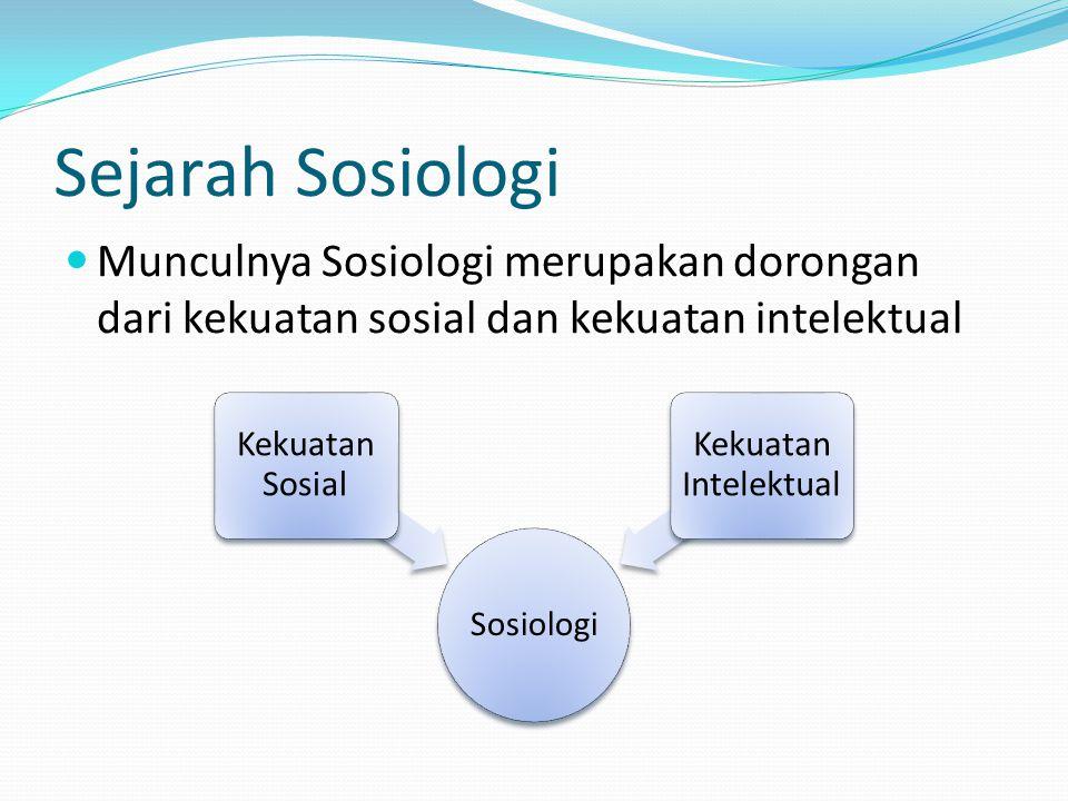 Sejarah Sosiologi Munculnya Sosiologi merupakan dorongan dari kekuatan sosial dan kekuatan intelektual.