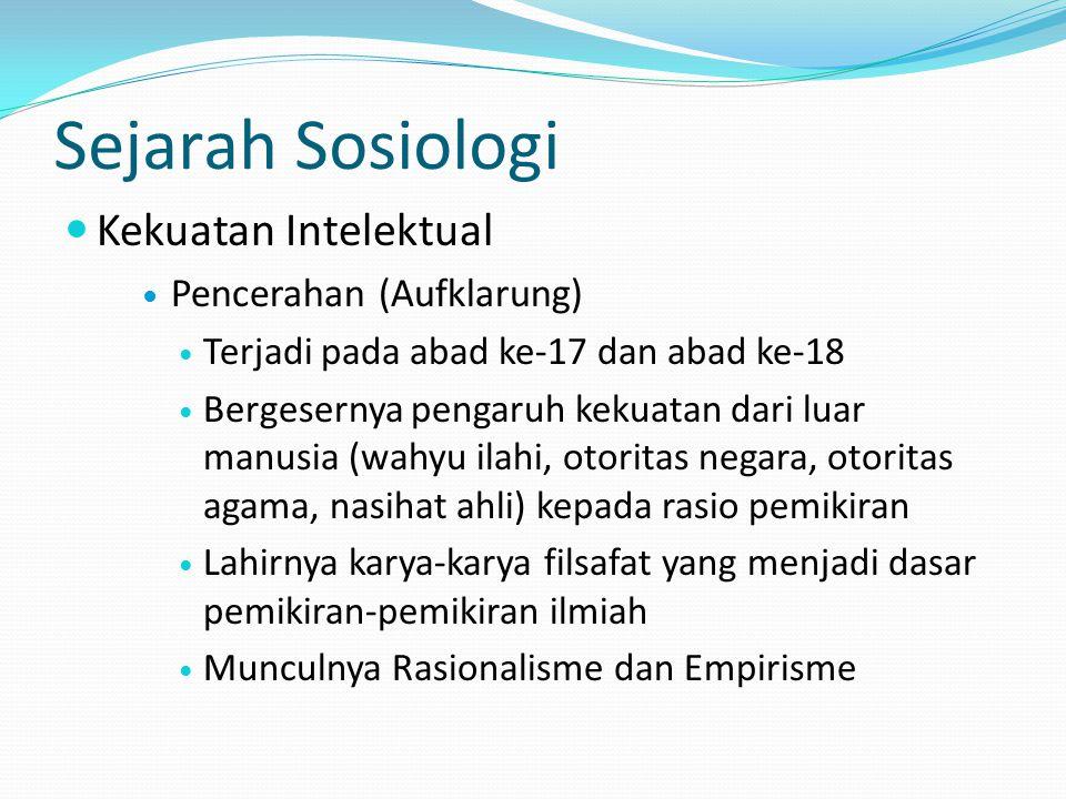 Sejarah Sosiologi Kekuatan Intelektual Pencerahan (Aufklarung)