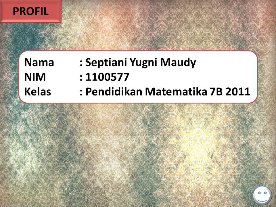 PROFIL Nama : Septiani Yugni Maudy NIM : 1100577 Kelas : Pendidikan Matematika 7B 2011