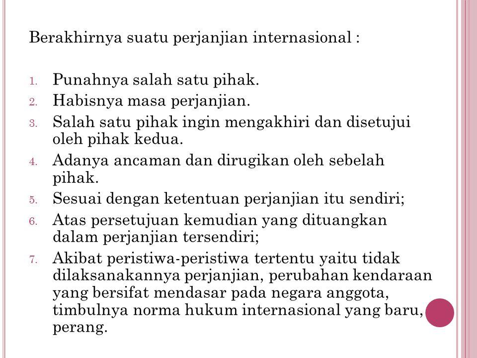Berakhirnya suatu perjanjian internasional :
