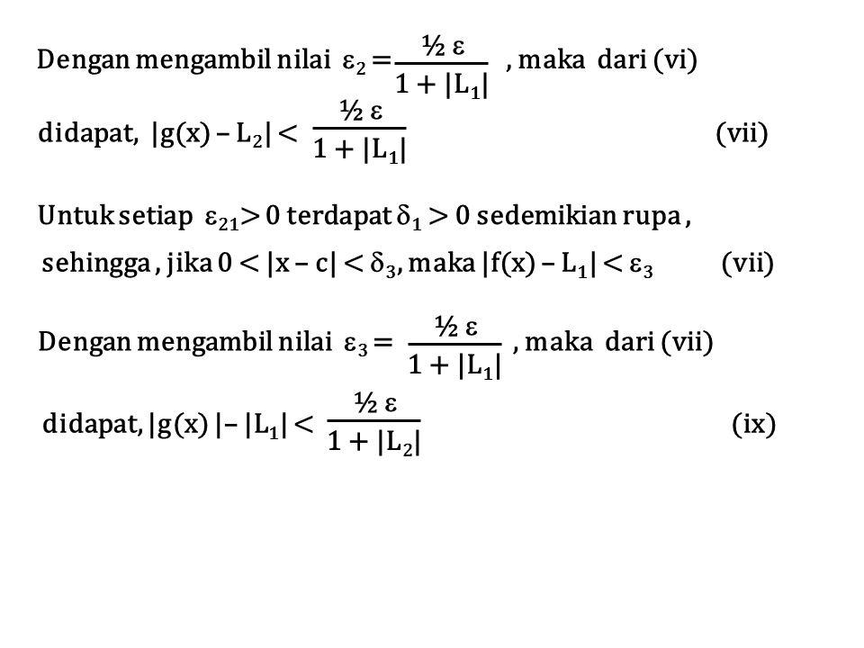 ½  1 + |L1| Dengan mengambil nilai 2 = , maka dari (vi)