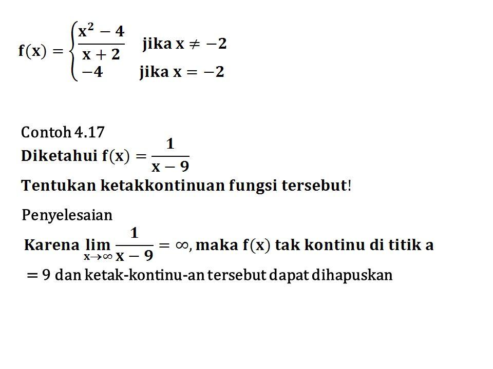 Contoh 4.17 Penyelesaian = 9 dan ketak-kontinu-an tersebut dapat dihapuskan