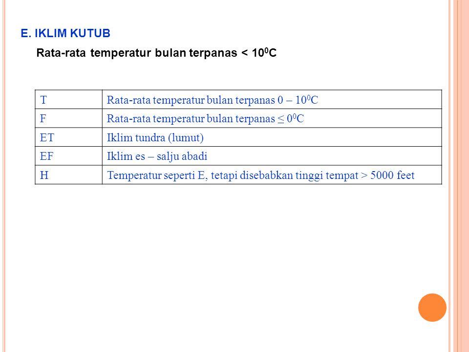 E. IKLIM KUTUB Rata-rata temperatur bulan terpanas < 100C. T. Rata-rata temperatur bulan terpanas 0 – 100C.