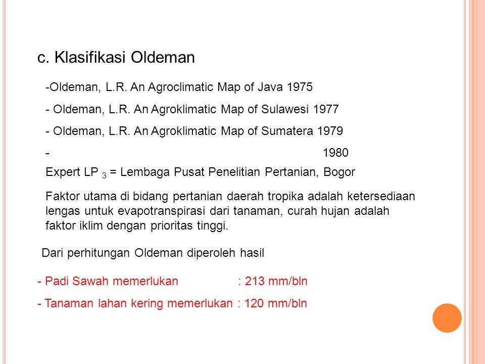 c. Klasifikasi Oldeman Oldeman, L.R. An Agroclimatic Map of Java 1975