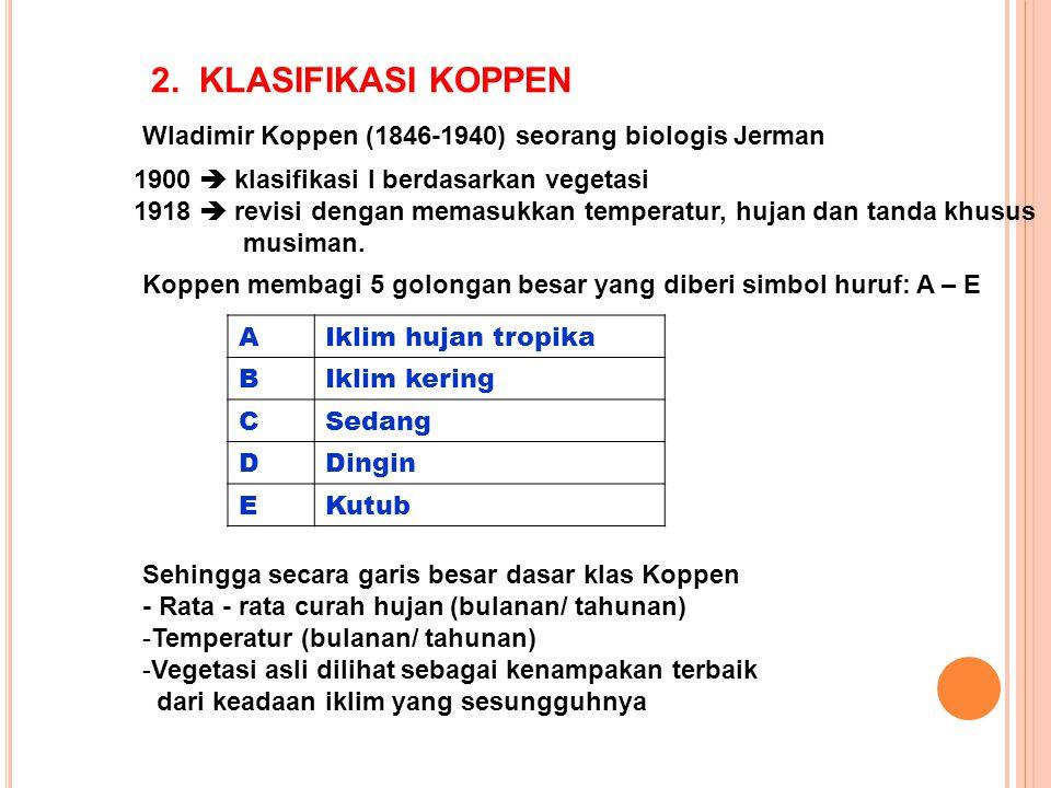 2. KLASIFIKASI KOPPEN Wladimir Koppen (1846-1940) seorang biologis Jerman. 1900  klasifikasi I berdasarkan vegetasi.