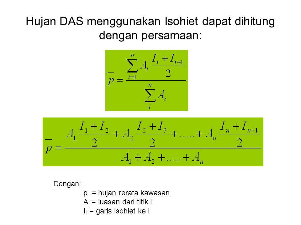 Hujan DAS menggunakan Isohiet dapat dihitung dengan persamaan: