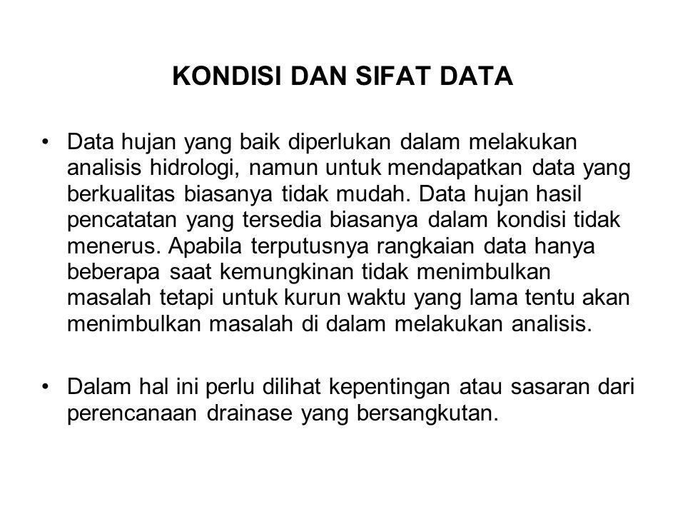 KONDISI DAN SIFAT DATA