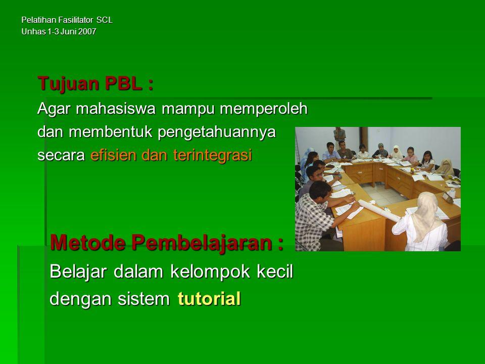 Metode Pembelajaran : Tujuan PBL : Belajar dalam kelompok kecil