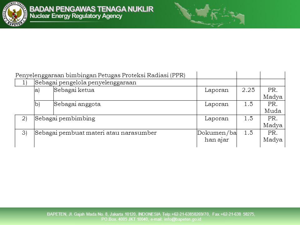 Penyelenggaraan bimbingan Petugas Proteksi Radiasi (PPR)