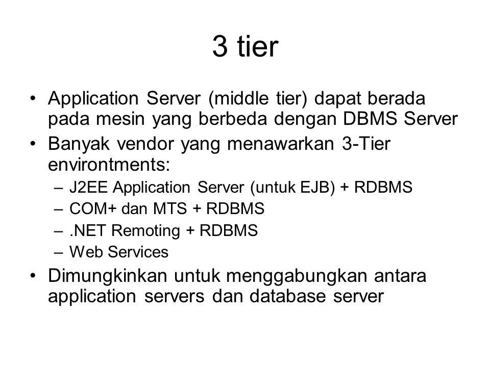 3 tier Application Server (middle tier) dapat berada pada mesin yang berbeda dengan DBMS Server. Banyak vendor yang menawarkan 3-Tier environtments:
