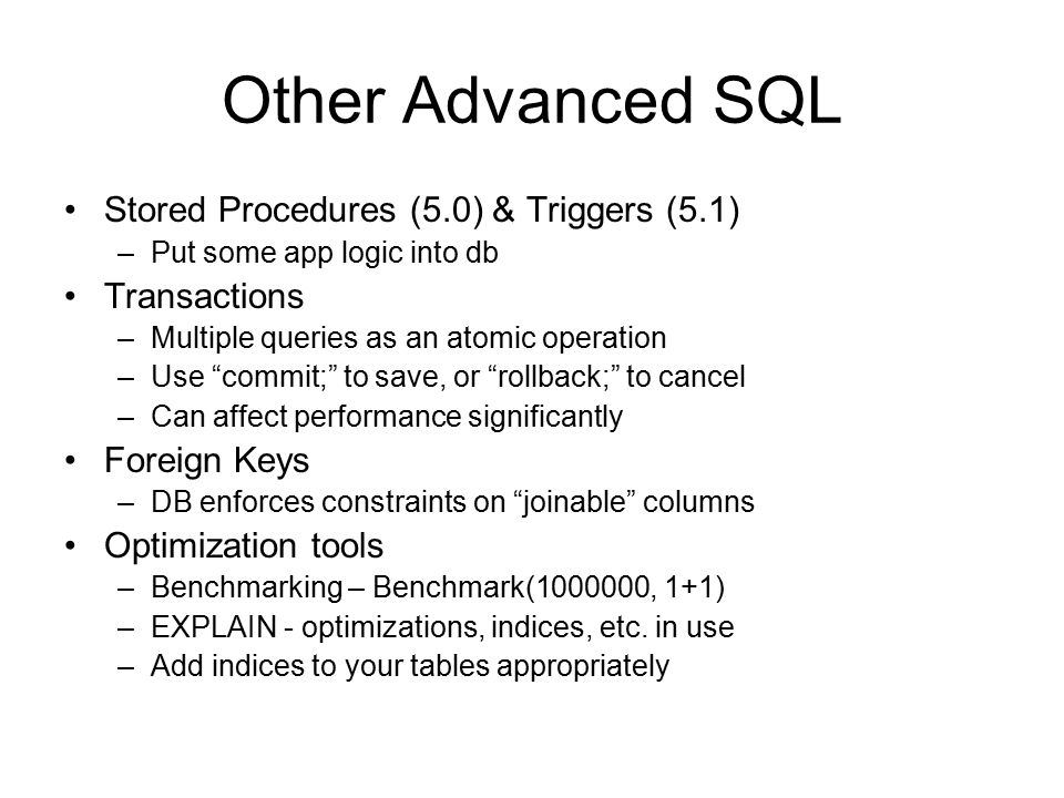 Other Advanced SQL Stored Procedures (5.0) & Triggers (5.1)