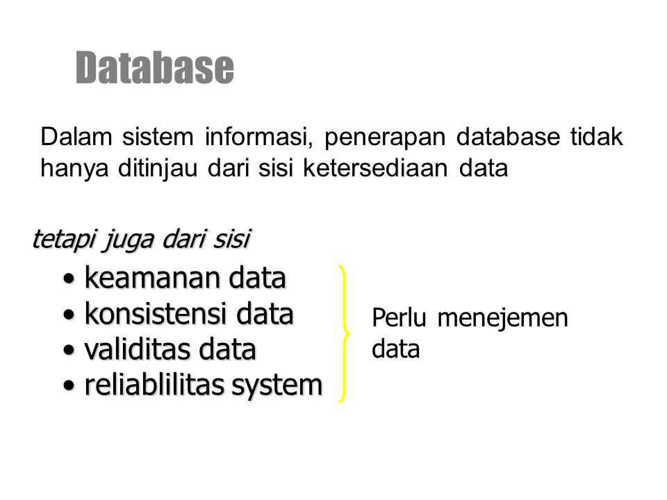 Database keamanan data konsistensi data validitas data