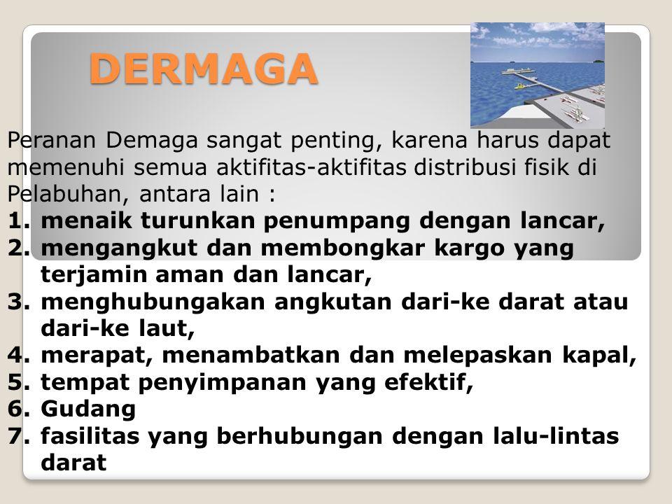 DERMAGA Peranan Demaga sangat penting, karena harus dapat memenuhi semua aktifitas-aktifitas distribusi fisik di Pelabuhan, antara lain :