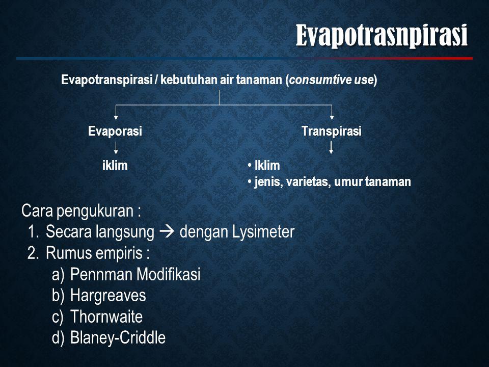 Evapotranspirasi / kebutuhan air tanaman (consumtive use)
