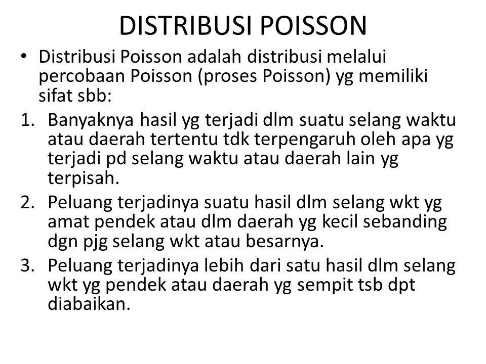 DISTRIBUSI POISSON Distribusi Poisson adalah distribusi melalui percobaan Poisson (proses Poisson) yg memiliki sifat sbb: