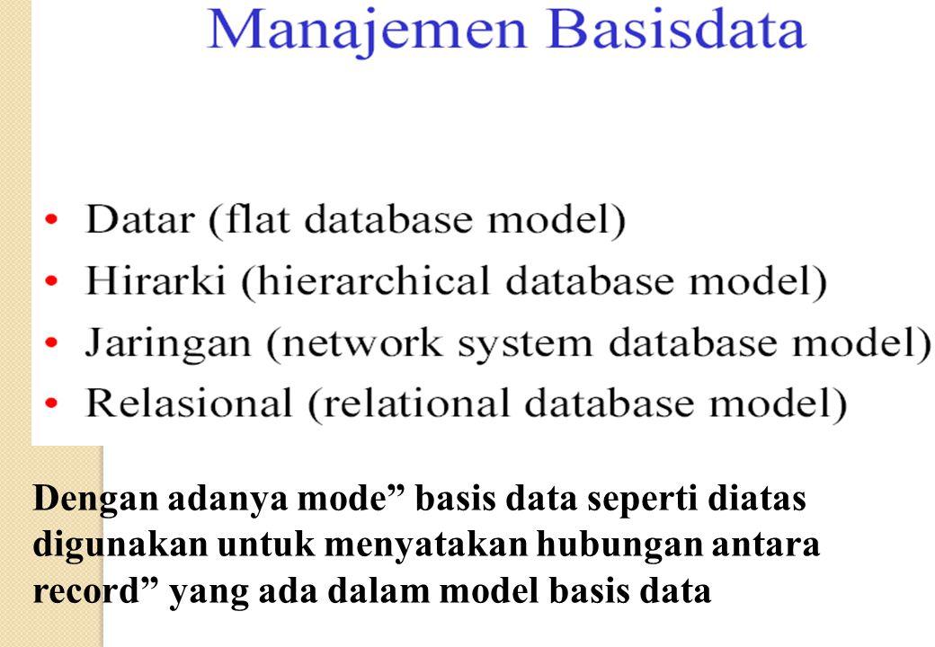 Dengan adanya mode basis data seperti diatas digunakan untuk menyatakan hubungan antara record yang ada dalam model basis data
