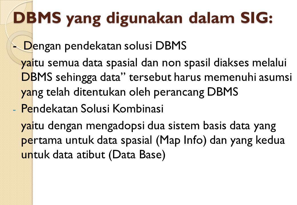 DBMS yang digunakan dalam SIG: