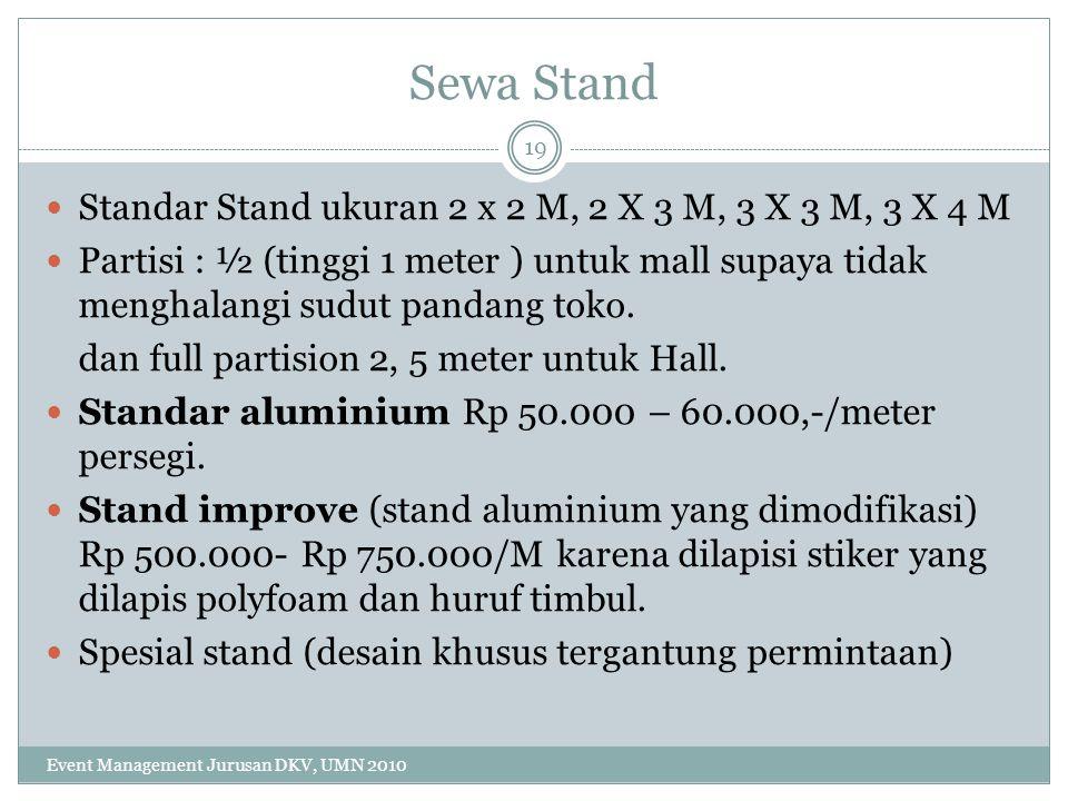 Sewa Stand Standar Stand ukuran 2 x 2 M, 2 X 3 M, 3 X 3 M, 3 X 4 M