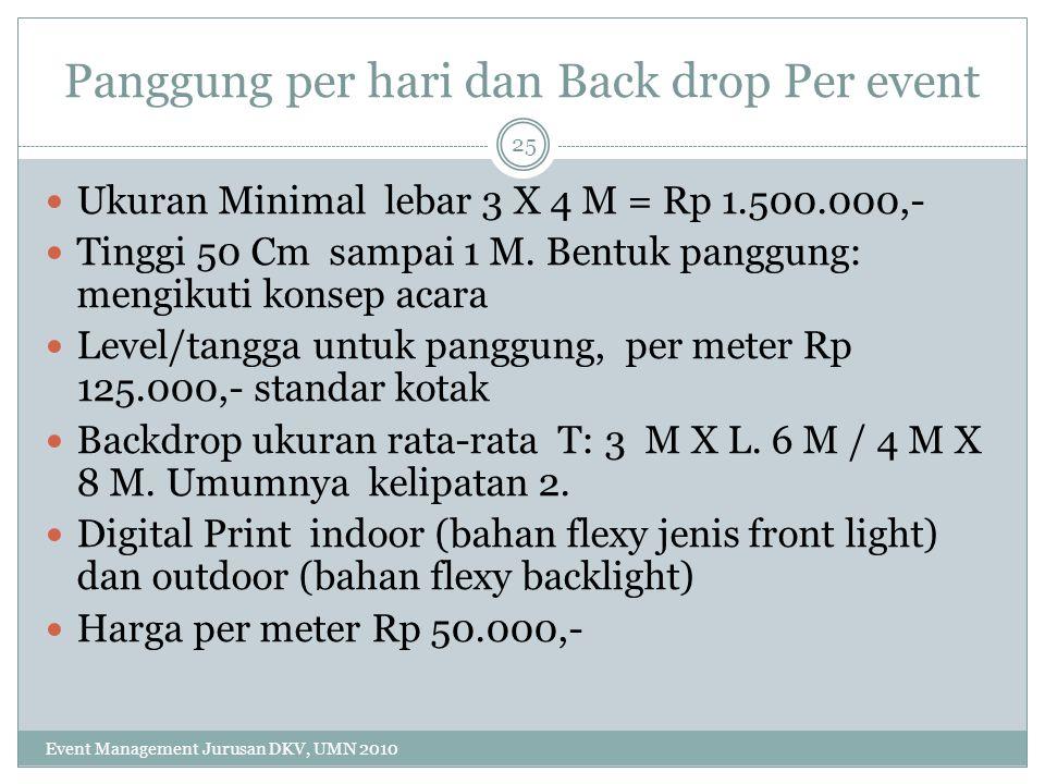 Panggung per hari dan Back drop Per event