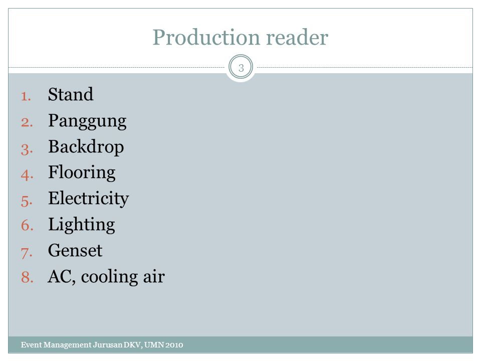Production reader Stand Panggung Backdrop Flooring Electricity