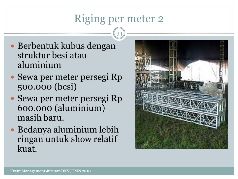 Riging per meter 2 Berbentuk kubus dengan struktur besi atau aluminium