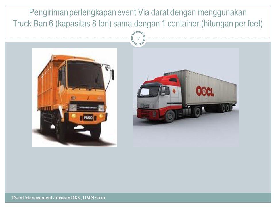Pengiriman perlengkapan event Via darat dengan menggunakan Truck Ban 6 (kapasitas 8 ton) sama dengan 1 container (hitungan per feet)