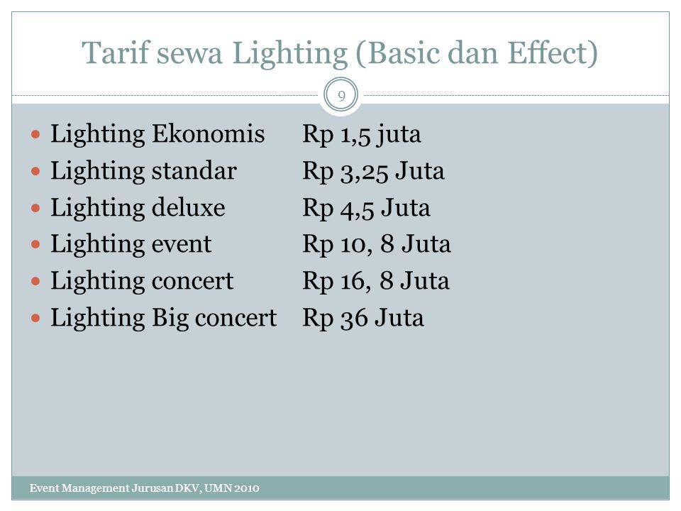 Tarif sewa Lighting (Basic dan Effect)