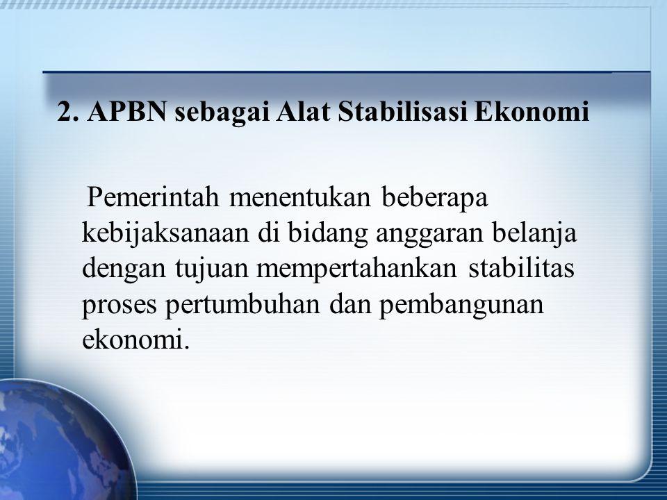 2. APBN sebagai Alat Stabilisasi Ekonomi
