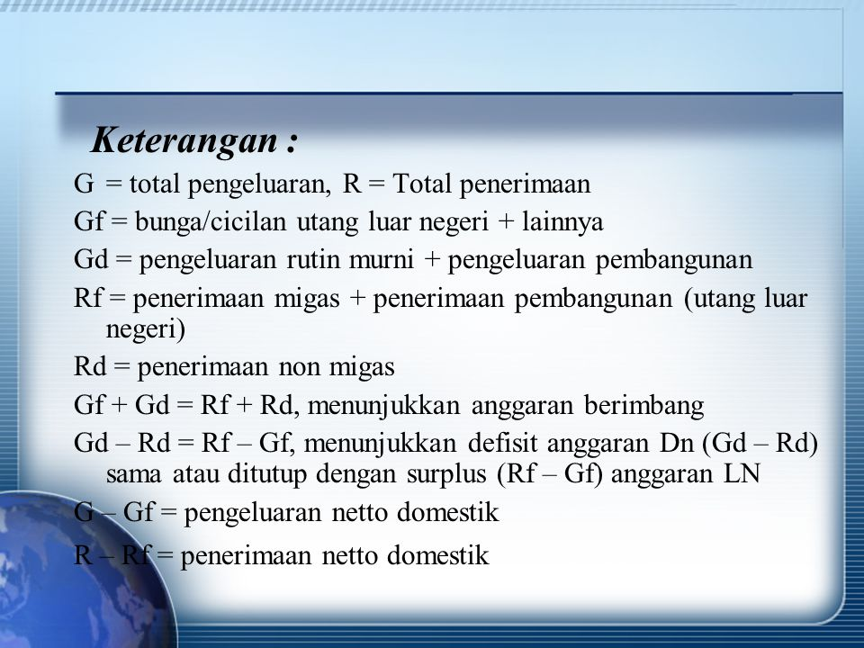 Keterangan : G = total pengeluaran, R = Total penerimaan