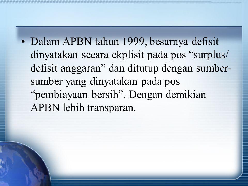 Dalam APBN tahun 1999, besarnya defisit dinyatakan secara ekplisit pada pos surplus/ defisit anggaran dan ditutup dengan sumber-sumber yang dinyatakan pada pos pembiayaan bersih .