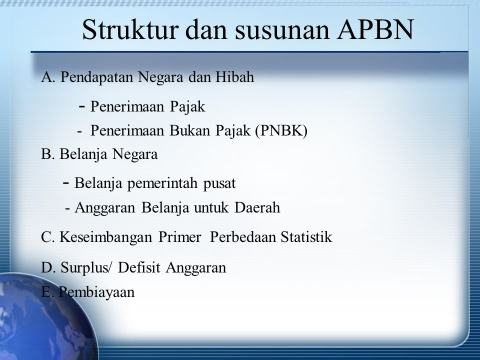 Struktur dan susunan APBN