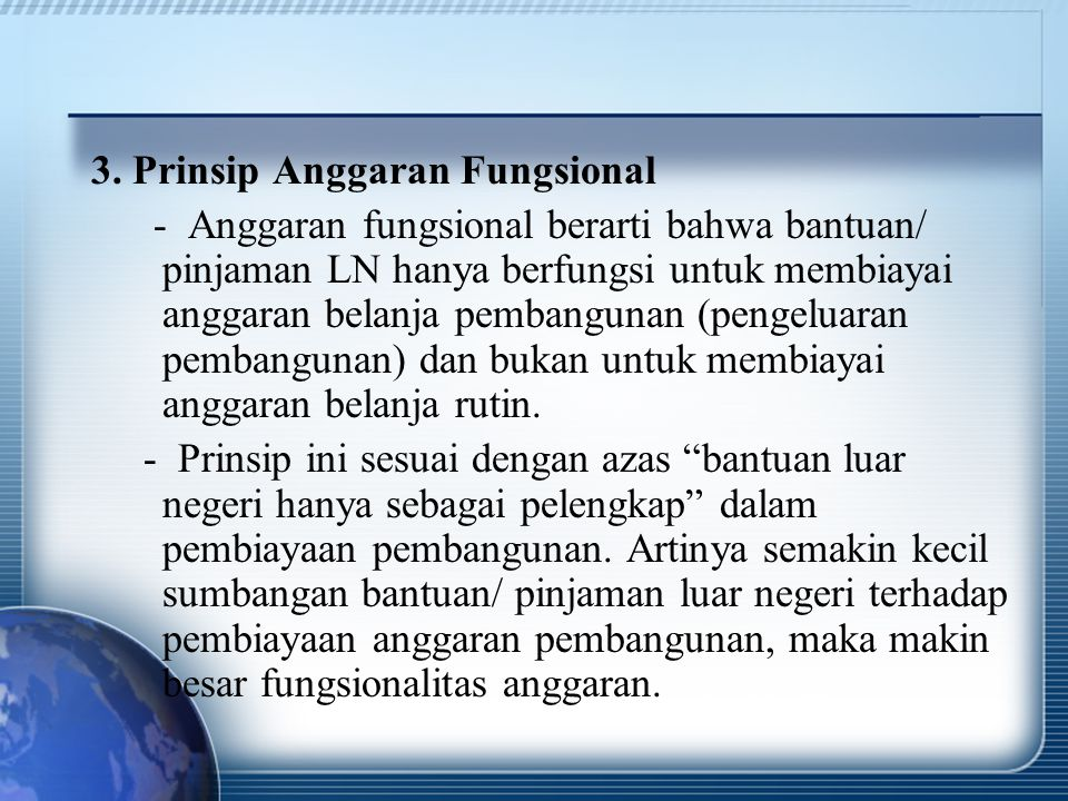 3. Prinsip Anggaran Fungsional
