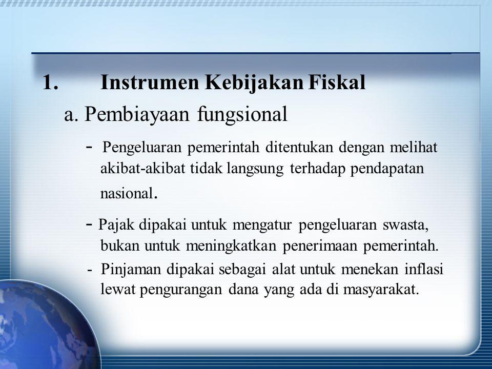 Instrumen Kebijakan Fiskal a. Pembiayaan fungsional