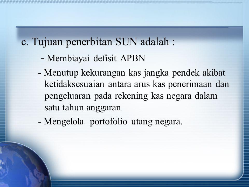 c. Tujuan penerbitan SUN adalah : - Membiayai defisit APBN