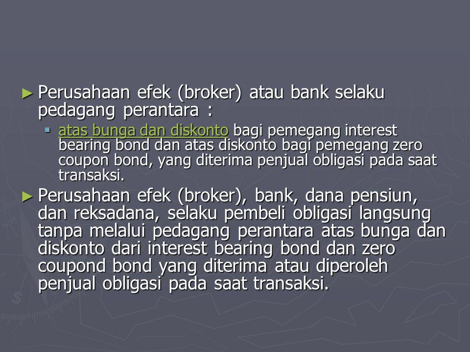 Perusahaan efek (broker) atau bank selaku pedagang perantara :
