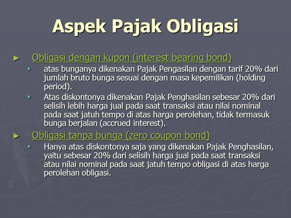 Aspek Pajak Obligasi Obligasi dengan kupon (interest bearing bond)