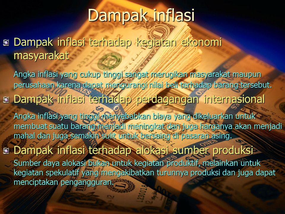 Dampak inflasi Dampak inflasi terhadap kegiatan ekonomi masyarakat.