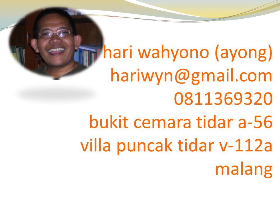 hari wahyono (ayong) hariwyn@gmail.com. 0811369320. bukit cemara tidar a-56. villa puncak tidar v-112a.