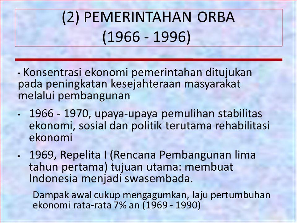 (2) PEMERINTAHAN ORBA (1966 - 1996) ekonomi