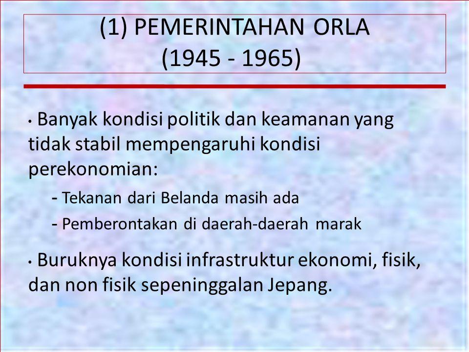 (1) PEMERINTAHAN ORLA (1945 - 1965) - Tekanan dari Belanda masih ada
