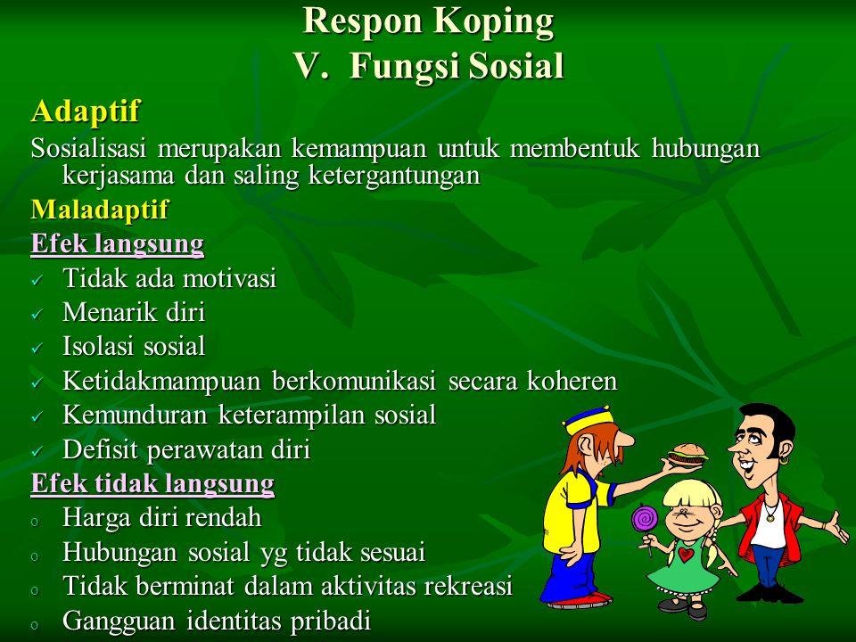 Respon Koping V. Fungsi Sosial