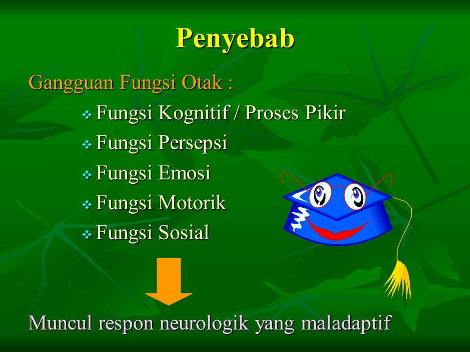 Penyebab Gangguan Fungsi Otak : Fungsi Kognitif / Proses Pikir