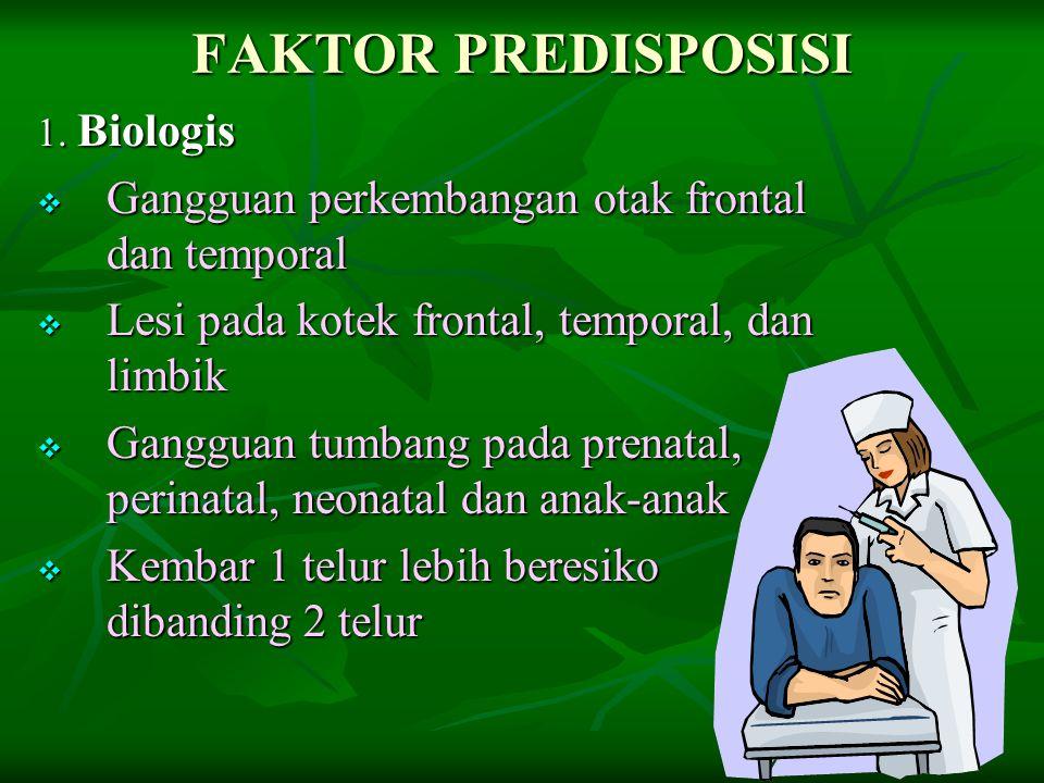 FAKTOR PREDISPOSISI Gangguan perkembangan otak frontal dan temporal