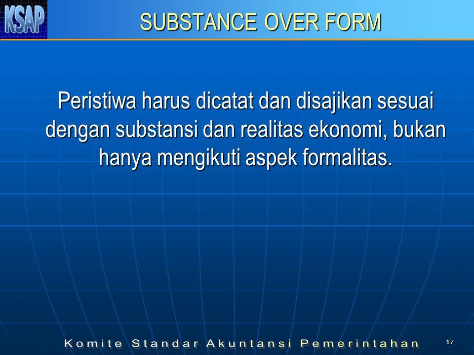 SUBSTANCE OVER FORM Peristiwa harus dicatat dan disajikan sesuai dengan substansi dan realitas ekonomi, bukan hanya mengikuti aspek formalitas.