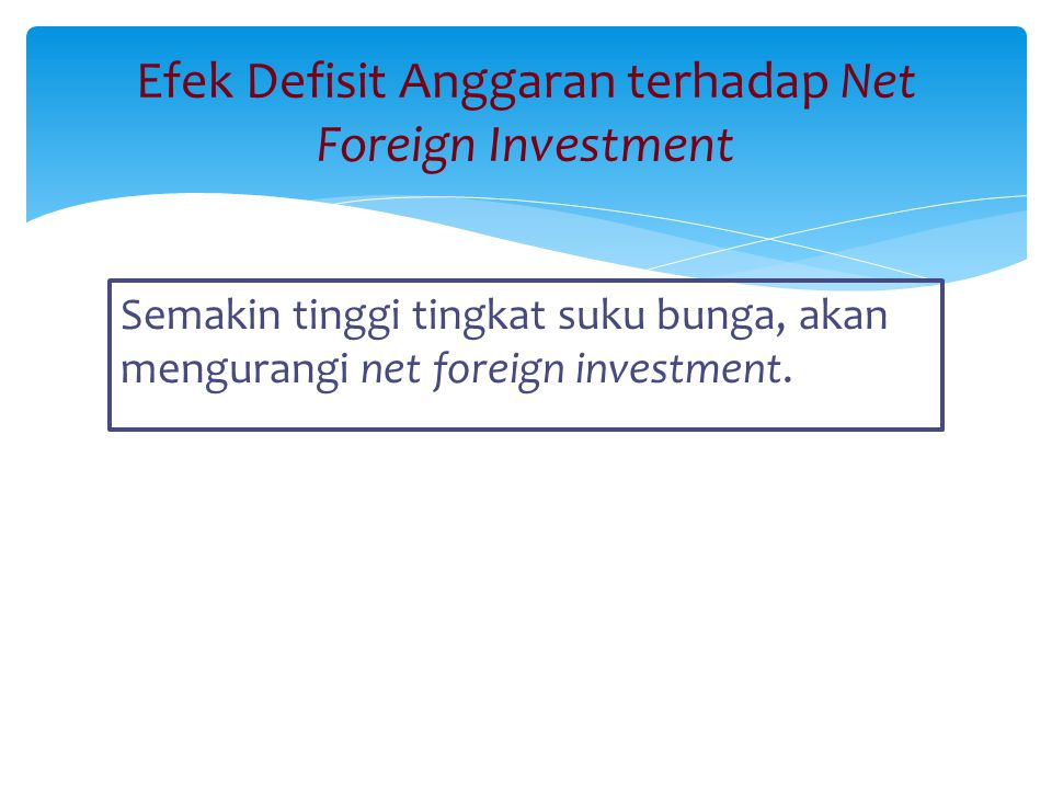 Efek Defisit Anggaran terhadap Net Foreign Investment