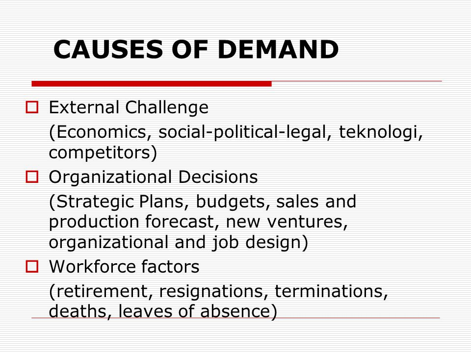 CAUSES OF DEMAND External Challenge